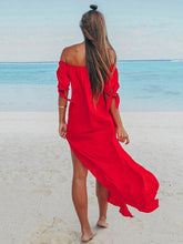 Dovechic Off Shoulder Split-side Solid Beach Maxi Dresses
