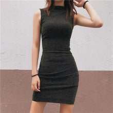 Bright Silk Slim Sleeveless Bodycon Dresses-2color