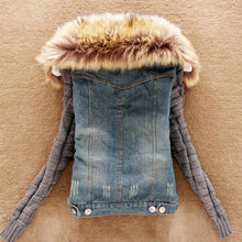 Fur Collar Wool Sleeve Denim Jacket Coat