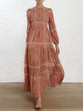 Dovechic Totemic Printed Round Collar Lantern Long Sleeve Maxi Dress