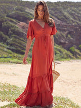Dovechic Solid Ruffled Short Sleeves Empire Maxi Dress