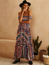 Dovechic Strapless Printed Bohemia Maxi Dress