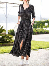Dovechic Polka-dot V-neck Long Sleeves Maxi Dress