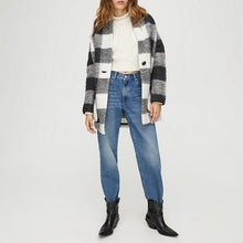 Plaid fashion casual cardigan coat