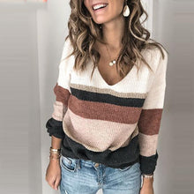 Daily v-neck striped long sleeve sweater