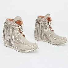 Casual ladies tassel lace-up pure color ankle boots
