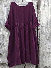 Women Solid Color Linen Dress
