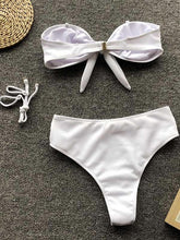 Dovechic Leopard Print| Plain Bowknot High Waisted Bikini Swimsuit
