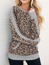 Round Neck Camouflage Color Matching Long Sleeve Sweater