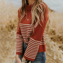 literary Stand Collar Striped Sweater