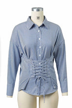 Cotton OL Fashion Lace-up Shirt-4color