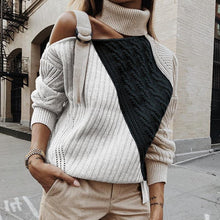 Fashion Colorblock Single Off-Shoulder Long-Sleeved Knit Top