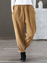 Plain Pockets Corduroy Paneled Casual Pants