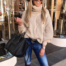 Women's Casual High Collar Pure Color Bubble Sleeves Sweater