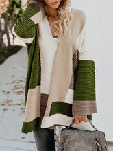 Fashion colorblock long paragraph from neck and neck coat