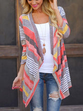 Women's 3/4 Sleeve Cardigans Striped Printed Kimono Loose Cardigan