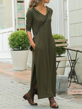 Dovechic V-neck Long Sleeves Army Green Split-side Maxi Dress