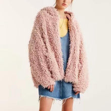 Women's Fashion Sweet Versatile Pink Plush Hooded Jacket