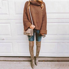Solid Color Loose High-Collar Knitted Sweater
