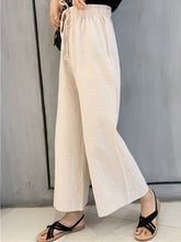 Plus Size Women Cotton And Linen Solid Loose Casual Wide Leg Pants