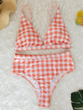 Dovechic Plaid High Waist Bikinis Swimwear