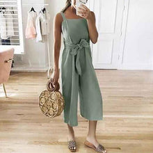 Casual Solid Color Cotton/Linen Bandage Jumpsuits Overalls