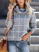 Women's high collar split plaid sweater