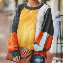 Maternity Vintage round neck color matching sweater