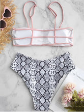 Dovechic High Cut Snake Skin Bottom Bikinis Swimwear