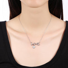 925 Sterling Silver Love Letter Heart Diamond Necklace