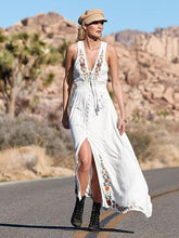 Dovechic Bohemia Embroidered Sleeveless Split-front Maxi Dresses
