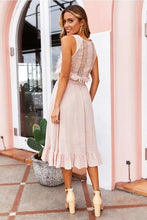 Cotton Tassel Lace Tie Dress -3color