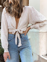 Casual Belted Stripe Blouse