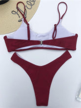 Dovechic Solid Round-Neck Plunge Top With Hipster Bikini Set