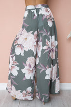 High Waist Printed Belt Wide Leg Pants-2color