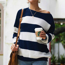 Round neck striped sweater top sweater