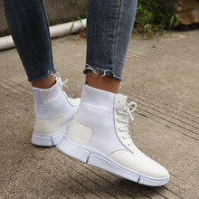 Casual Flying Woven Leather straps women's Martin ankle boots