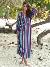 Dovechic Striped Printed V-neck Belted Maxi Dress