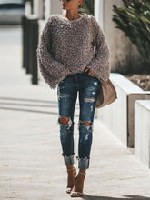 Fashion Solid Plain Round Neck Casual Sweaters