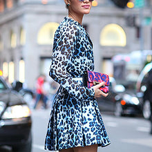 Sweet Leopard Print Round Neck Dress
