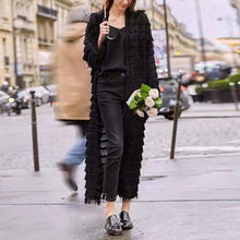 Fashion Solid Color Stitching Tassel Long Cardigan