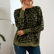 Women's Casual Round Neck Leopard Print Long Sleeve Top