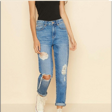 Fashion Slim Fit Broken Hole High Waist Jeans