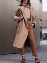 Individuality Turndown Collar Pure Colour Long Coat