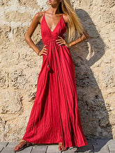 Dovechic Red Backless Halter-neck Maxi Dress
