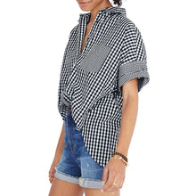 Lapel Single-breasted Short-sleeved Top-3color
