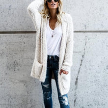Fashion solid color long sleeve pocket imitation wool hooded cardigan