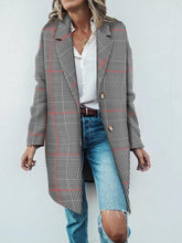 Long Plaid Lapel Casual Coat