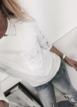 Lace long sleeve loose T-shirt top