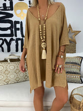 Round Neck Half Sleeve Casual Solid Dresses